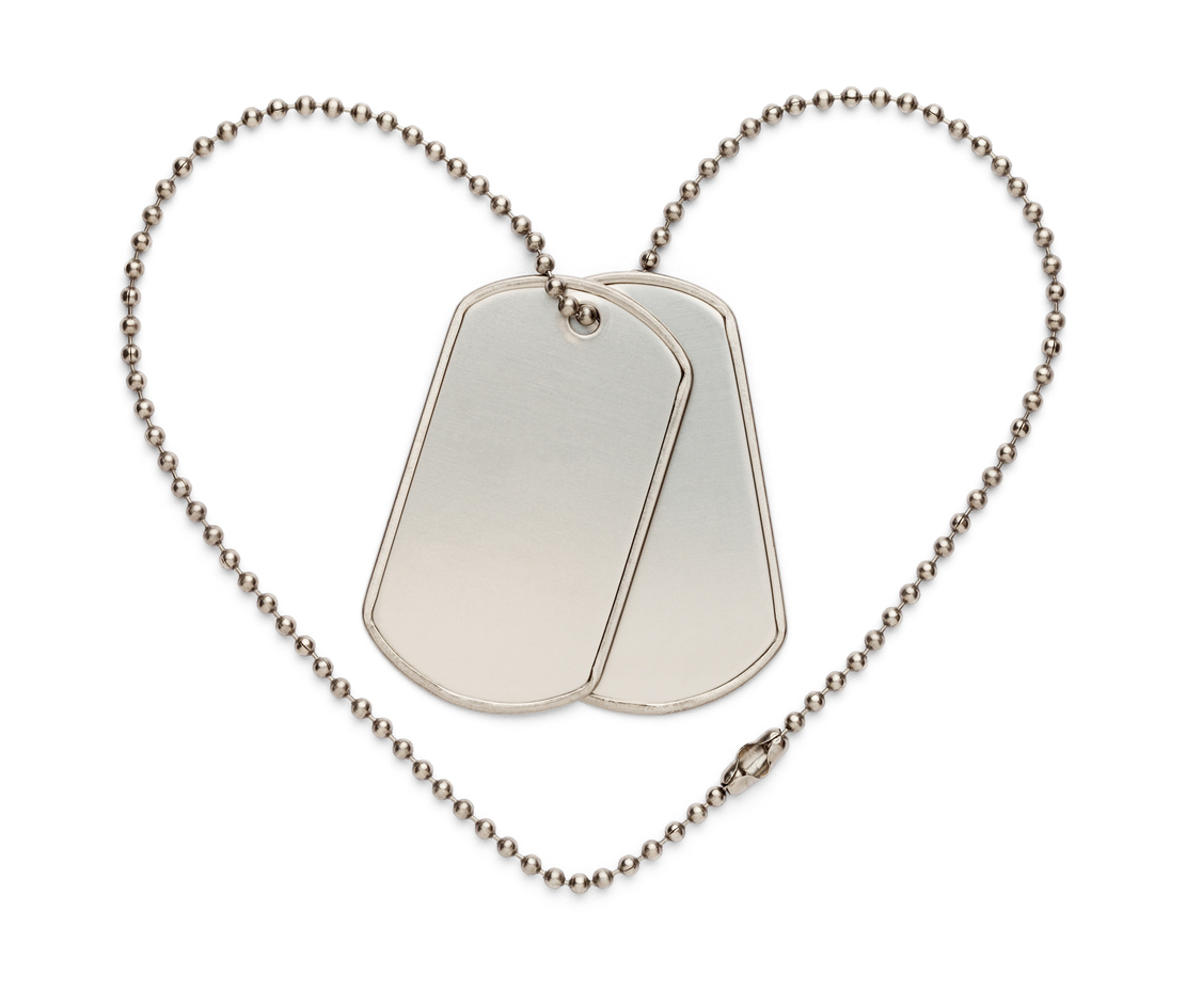 Dog Tags in Shape of Heart to Support the Troops and The Fallen. Isolated on a White Background.